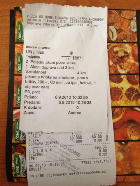 Účet za objednávku